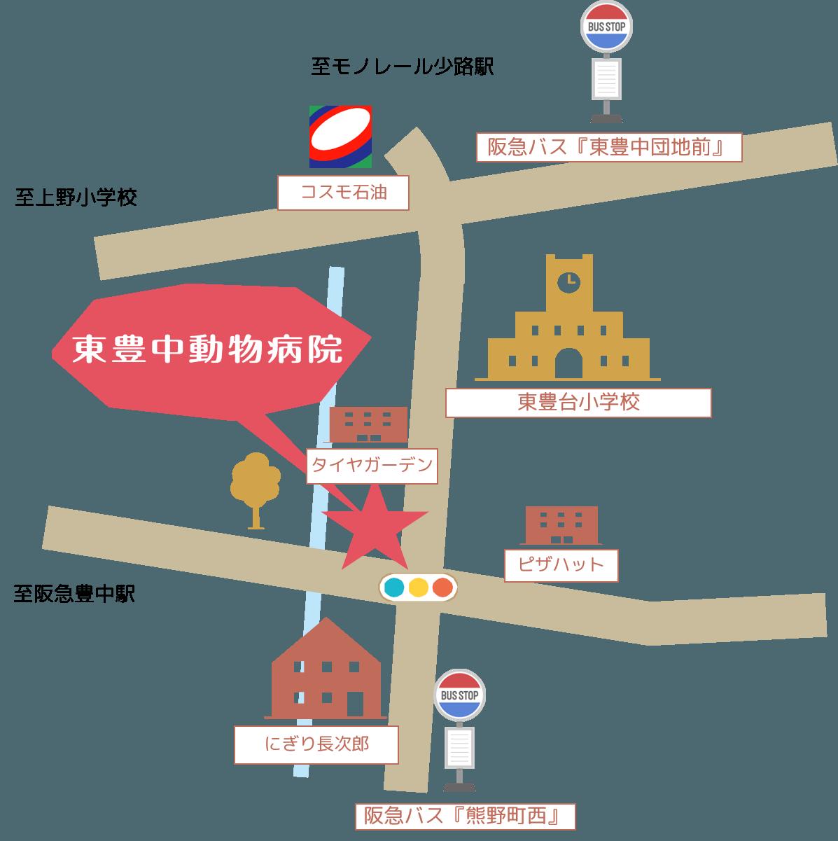 東豊中動物病院への行き方